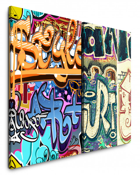 2 Bilder je 60x90cm Streetart Graffiti Tags Wand Berlin Jugend HipHop