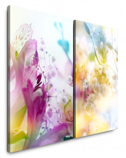 2 Bilder je 60x90cm Blumen Bunt Sonnenschein Sommer Sommerwiese Flora Nahaufnahme