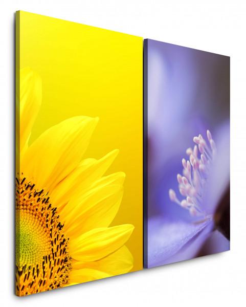 2 Bilder je 60x90cm Sonnenblume Gelb Sommerlich Blüten Blumen Nahaufnahme Makrofotografie