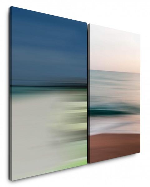 2 Bilder je 60x90cm Pastelltöne Wellen Strand Beruhigend Abstrakt Modern Weite