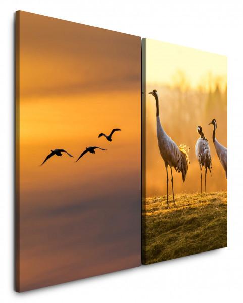 2 Bilder je 60x90cm Vögel Kraniche Japan Fliegen Abendröte Über Wolken