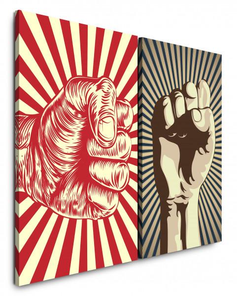 2 Bilder je 60x90cm Revolution Faust Power Rot Widerstand Kampf Demokratie