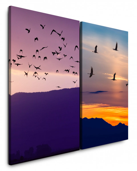 2 Wandbilderje 60x90cm Vogelschwarm Berge Horizont Kraniche Sonnenuntergang Abendröte Wolken