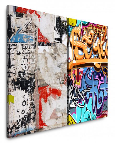 2 Bilder je 60x90cm Streetart Graffiti Grungy Bunt Jugendzimmer Wand Wall