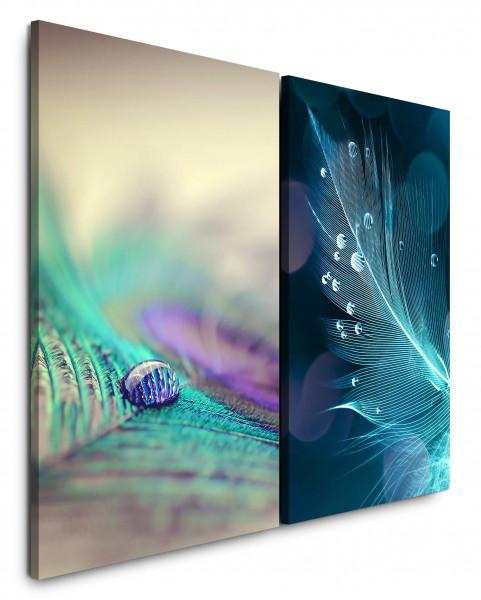 2 Bilder je 60x90cm Pfaufeder Feder Makro Wassertropfen Tropfen Fotokunst Makrofotografie