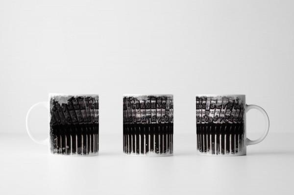 Tasse - Schreibmaschine im Detail