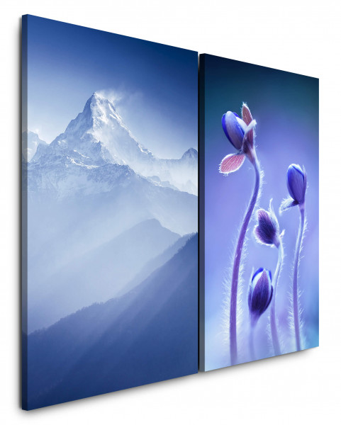 2 Wandbilderje 60x90cm Berggipfel Schnee Blau Himalaya Blumen Berg Wind