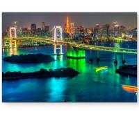 Premium Leinwandbild Skyline Tokyo mit Tokyo Tower