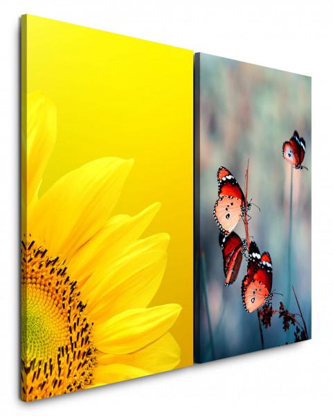 2 Bilder je 60x90cm Sonnenblume Gelb Sommer Schmetterlinge Frühling Nahaufnahme Sommerlich