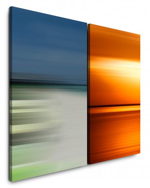 2 Bilder je 60x90cm Rotes Meer Horizont Abenddämmerung Harmonisch Minimal Modern