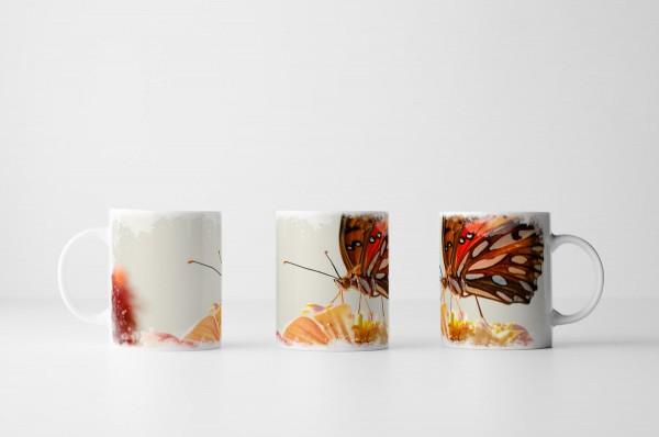 Tasse Schmetterling auf Blüte