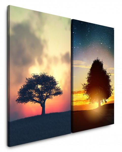 2 Bilder je 60x90cm Baum Einsam Feld Sonnenuntergang Abendröte Nachthimmel Sommernacht