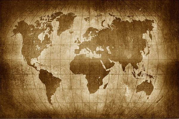 Leinwandbild Weltkarte Sepia Farbton