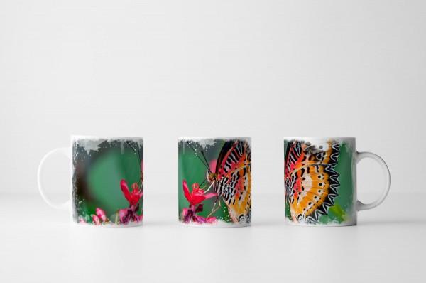 Tasse Farbenfroher Schmetterling