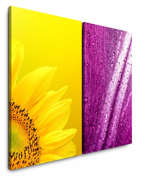 2 Bilder je 60x90cm Sonnenblume Gelb Wassertropfen Tropfen Vinyl Blumen Makrofotografie