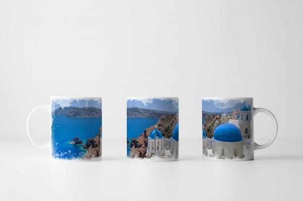 Tasse Kirchen Kuppel von Santorini Griechenland