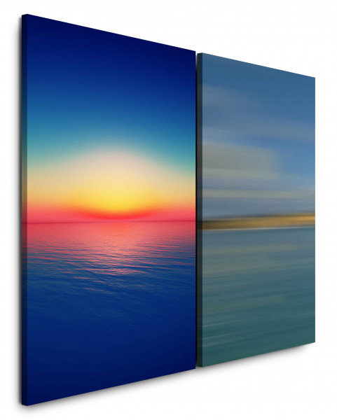 2 Bilder je 60x90cm Meer Himmel Horizont Sonnenuntergang Minimal Abendröte Blau