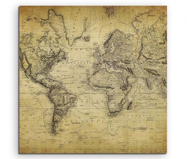 Leinwandbild Weltkarte Oldstyle aus dem 18. Jahrhundert