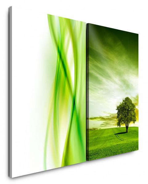2 Wandbilderje 60x90cm Grün Wiese Baum Feld Himmel Abstrakt Horizont