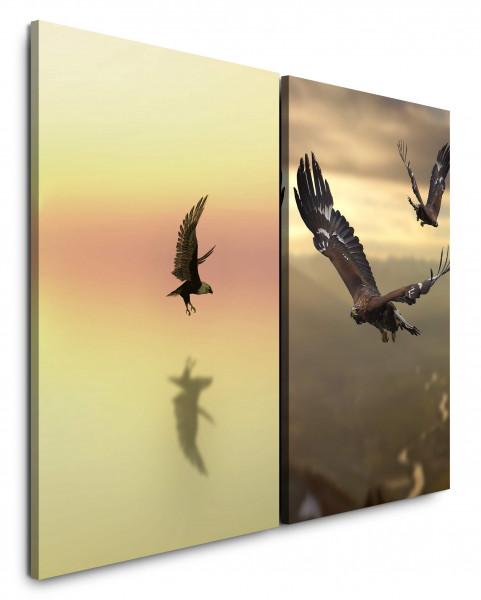 2 Bilder je 60x90cm Freiheit Adler Weißkopfseeadler Fliegen Majestätisch Gold Vögel