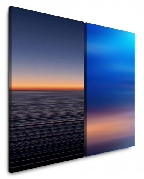 2 Bilder je 60x90cm Horizont Blau Himmel Minimal Abstrakt Abendröte Harmonisch