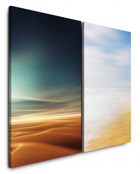 2 Wandbilderje 60x90cm Wüste Sahara Horizont Himmel Sonnenuntergang Meer Strand