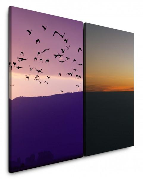 2 Bilder je 60x90cm Horizont Rosa Berge Vögel Himmel Abendröte Sonnenuntergang
