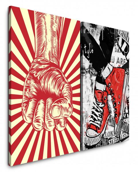 2 Bilder je 60x90cm PopArt Sneakers Converse Chucks StreetArt Rot Revolution