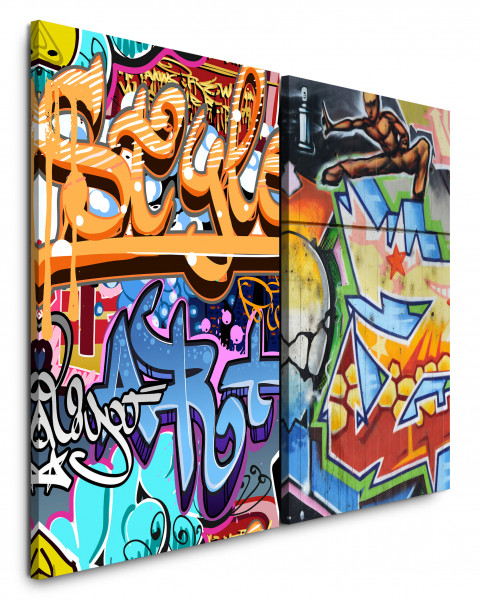 2 Bilder je 60x90cm Streetart Graffiti Wand Bunt Jugendzimmer Cool HipHop
