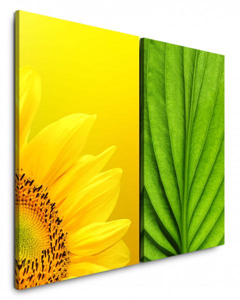 2 Bilder je 60x90cm Sonnenblume Gelb Grünes Blatt Pflanze Nahaufnahme Makrofotografie