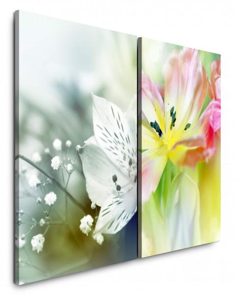 2 Bilder je 60x90cm Blumen Frühling Weiße Blüte Sommerwiese Makro Fotokunst