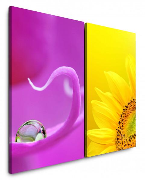 2 Bilder je 60x90cm Sonnenblume Gelb Wassertropfen Violett Blüte Nahaufnahme Makrofotografie