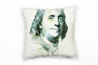 Benjamin Franklin Deko Kissen