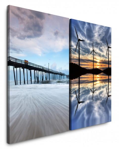 2 Bilder je 60x90cm Brücke Meer Windräder Wolken See Horizont Himmel