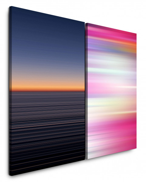 2 Bilder je 60x90cm Horizont Abendröte Minimal Rosa Pink Abstrakt Modern
