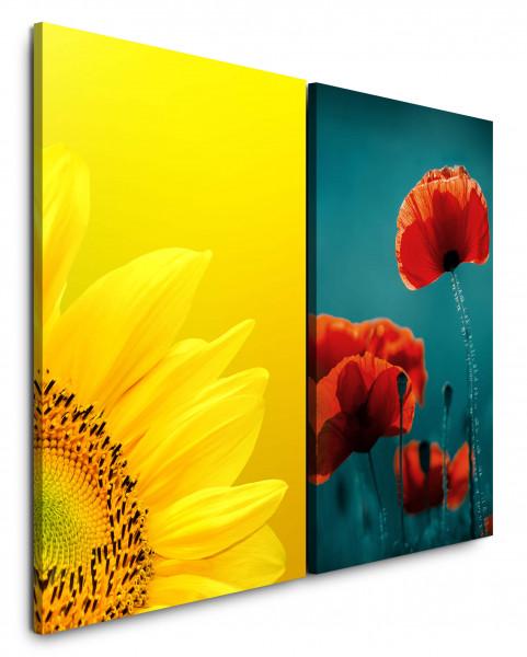 2 Bilder je 60x90cm Sonnenblume Gelb Rot Mohnblume Blumen Sommer Frühling