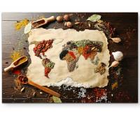 Weltkarte aus verschiedenen Gewürzen
