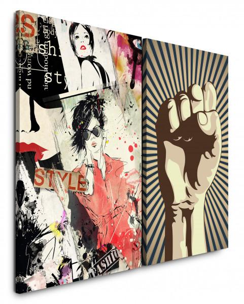 2 Bilder je 60x90cm Mode PopArt Revolution Faust Power Fashion Feminin