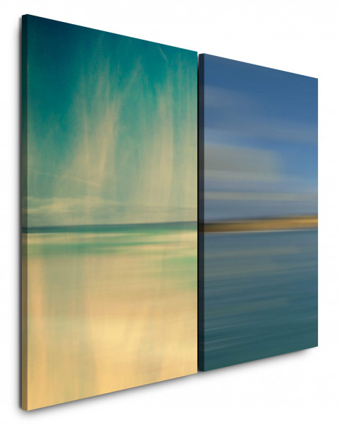 2 Bilder je 60x90cm Horizont Blau Meer Abstrakt Nebel Minimal Sonnenuntergang