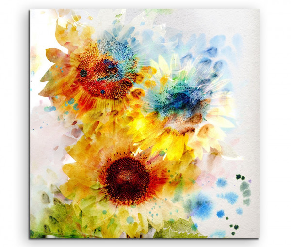 Leinwandbild Schöne bunte Sonnenblumen in bunten Farben