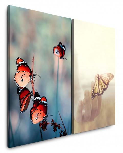 2 Wandbilderje 60x90cm Sommer Schmetterlinge Warm Sonnenschein Feld Hand Friedlich