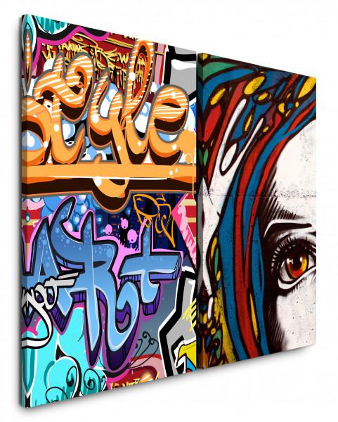 2 Bilder je 60x90cm Streetart Graffiti Wand Wall Jugendzimmer Modern Cool