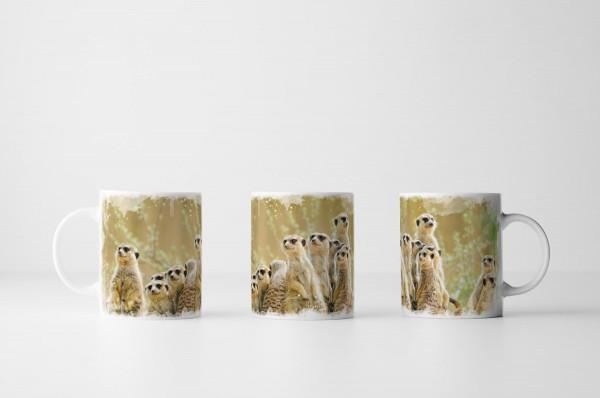 Tasse Niedliche Erdmännchen Familie