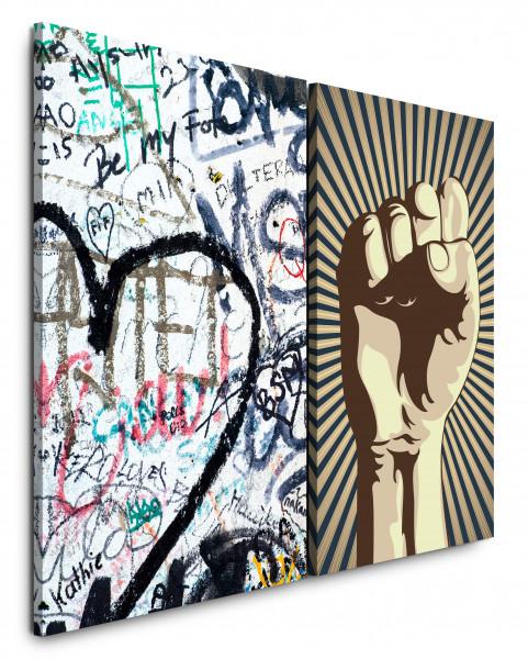2 Bilder je 60x90cm Streetart Graffiti Revolution Faust Herz Power HipHop
