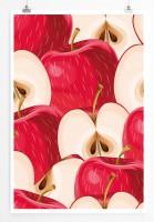 Poster Rote aufgeschnittene Äpfel