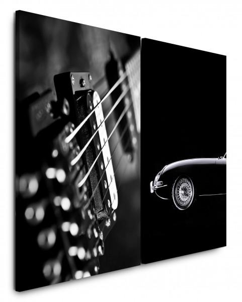 2 Wandbilderje 60x90cm Schwarz Weiß Oldtimer Ferrari Gitarre Musik Supercar
