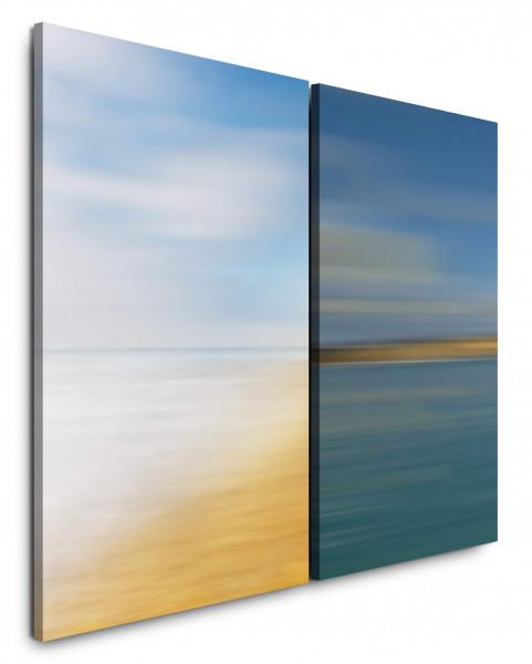 2 Wandbilderje 60x90cm Strand Himmel Sand Harmonisch Horizont Türkis Beruhigend