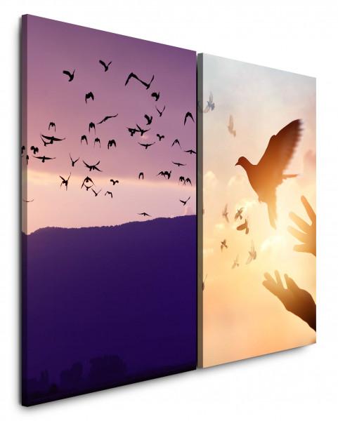 2 Bilder je 60x90cm Vögel Berge Taube Frieden Abendröte Freiheit Friedenstaube