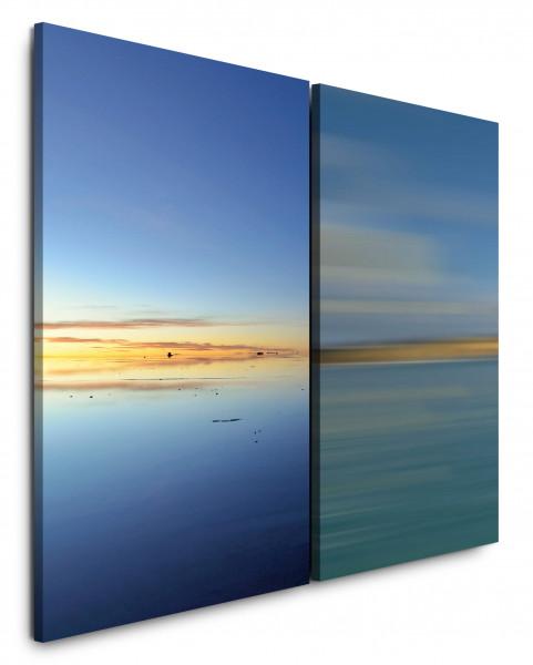 2 Wandbilderje 60x90cm Horizont Meer Sonnenuntergang Himmel Blau Modern Harmonisch