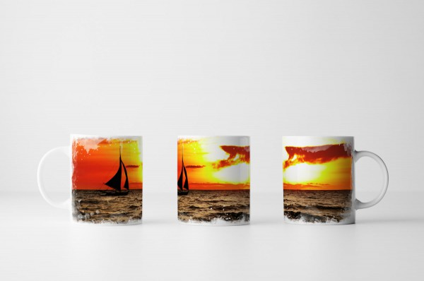 Tasse Segelschiff bei Sonnenaufgang Boracay Philippinen